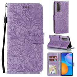 Intricate Embossing Lace Jasmine Flower Leather Wallet Case for Huawei P smart 2021 / Y7a - Purple