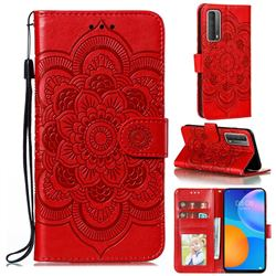 Intricate Embossing Datura Solar Leather Wallet Case for Huawei P smart 2021 / Y7a - Red