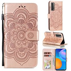 Intricate Embossing Datura Solar Leather Wallet Case for Huawei P smart 2021 / Y7a - Rose Gold