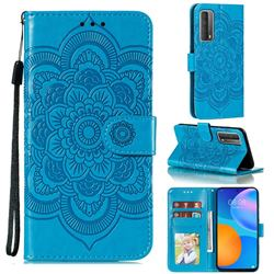 Intricate Embossing Datura Solar Leather Wallet Case for Huawei P smart 2021 / Y7a - Blue