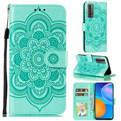 Intricate Embossing Datura Solar Leather Wallet Case for Huawei P smart 2021 / Y7a - Green
