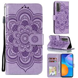 Intricate Embossing Datura Solar Leather Wallet Case for Huawei P smart 2021 / Y7a - Purple