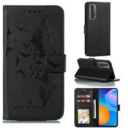 Intricate Embossing Lychee Feather Bird Leather Wallet Case for Huawei P smart 2021 / Y7a - Black