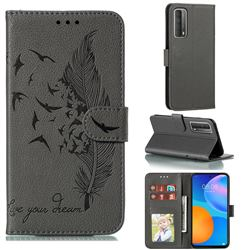 Intricate Embossing Lychee Feather Bird Leather Wallet Case for Huawei P smart 2021 / Y7a - Gray