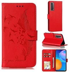 Intricate Embossing Lychee Feather Bird Leather Wallet Case for Huawei P smart 2021 / Y7a - Red