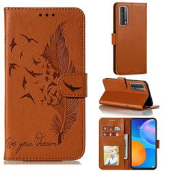 Intricate Embossing Lychee Feather Bird Leather Wallet Case for Huawei P smart 2021 / Y7a - Brown