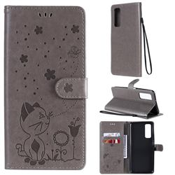 Embossing Bee and Cat Leather Wallet Case for Huawei P smart 2021 / Y7a - Gray