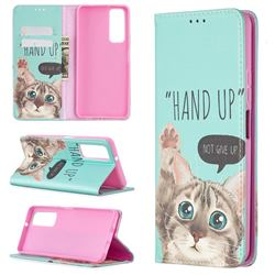 Hand Up Cat Slim Magnetic Attraction Wallet Flip Cover for Huawei P smart 2021 / Y7a