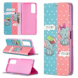 Elephant Boy and Girl Slim Magnetic Attraction Wallet Flip Cover for Huawei P smart 2021 / Y7a