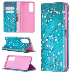 Plum Blossom Slim Magnetic Attraction Wallet Flip Cover for Huawei P smart 2021 / Y7a