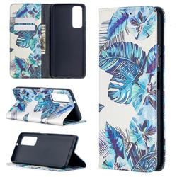 Blue Leaf Slim Magnetic Attraction Wallet Flip Cover for Huawei P smart 2021 / Y7a