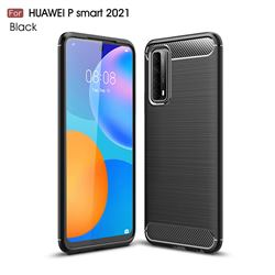Luxury Carbon Fiber Brushed Wire Drawing Silicone TPU Back Cover for Huawei P smart 2021 / Y7a - Black