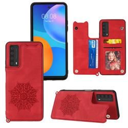 Luxury Mandala Multi-function Magnetic Card Slots Stand Leather Back Cover for Huawei P smart 2021 / Y7a - Red
