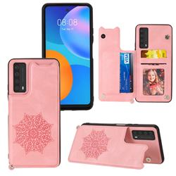 Luxury Mandala Multi-function Magnetic Card Slots Stand Leather Back Cover for Huawei P smart 2021 / Y7a - Rose Gold