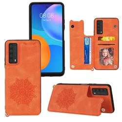 Luxury Mandala Multi-function Magnetic Card Slots Stand Leather Back Cover for Huawei P smart 2021 / Y7a - Yellow