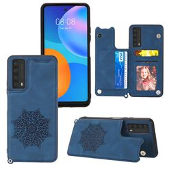 Luxury Mandala Multi-function Magnetic Card Slots Stand Leather Back Cover for Huawei P smart 2021 / Y7a - Blue