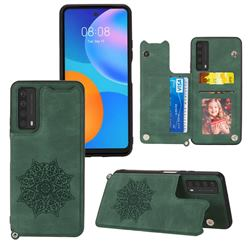 Luxury Mandala Multi-function Magnetic Card Slots Stand Leather Back Cover for Huawei P smart 2021 / Y7a - Green