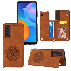 Luxury Mandala Multi-function Magnetic Card Slots Stand Leather Back Cover for Huawei P smart 2021 / Y7a - Brown
