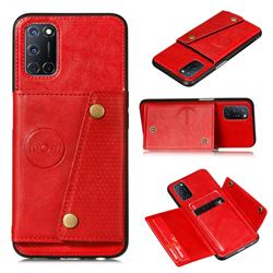 Retro Multifunction Card Slots Stand Leather Coated Phone Back Cover for Huawei P smart 2021 / Y7a - Red