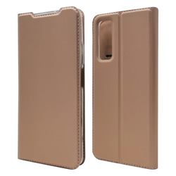 Ultra Slim Card Magnetic Automatic Suction Leather Wallet Case for Huawei P smart 2021 / Y7a - Rose Gold