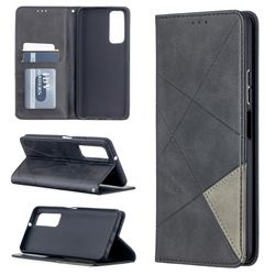 Prismatic Slim Magnetic Sucking Stitching Wallet Flip Cover for Huawei P smart 2021 / Y7a - Black