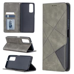 Prismatic Slim Magnetic Sucking Stitching Wallet Flip Cover for Huawei P smart 2021 / Y7a - Gray