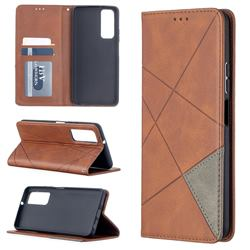 Prismatic Slim Magnetic Sucking Stitching Wallet Flip Cover for Huawei P smart 2021 / Y7a - Brown