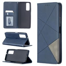 Prismatic Slim Magnetic Sucking Stitching Wallet Flip Cover for Huawei P smart 2021 / Y7a - Blue