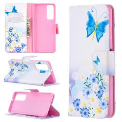 Butterflies Flowers Leather Wallet Case for Huawei P smart 2021 / Y7a