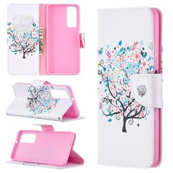 Colorful Tree Leather Wallet Case for Huawei P smart 2021 / Y7a