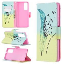 Feather Bird Leather Wallet Case for Huawei P smart 2021 / Y7a