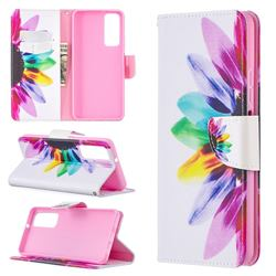 Seven-color Flowers Leather Wallet Case for Huawei P smart 2021 / Y7a