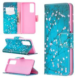 Blue Plum Leather Wallet Case for Huawei P smart 2021 / Y7a