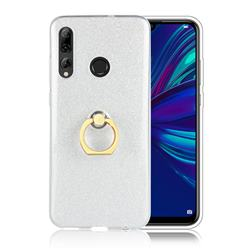 Luxury Soft TPU Glitter Back Ring Cover with 360 Rotate Finger Holder Buckle for Huawei P Smart+ (2019) - White