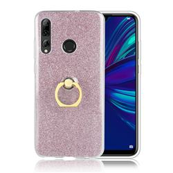 Luxury Soft TPU Glitter Back Ring Cover with 360 Rotate Finger Holder Buckle for Huawei P Smart+ (2019) - Pink