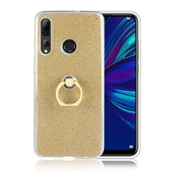 Luxury Soft TPU Glitter Back Ring Cover with 360 Rotate Finger Holder Buckle for Huawei P Smart+ (2019) - Golden