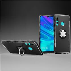 Armor Anti Drop Carbon PC + Silicon Invisible Ring Holder Phone Case for Huawei P Smart+ (2019) - Black