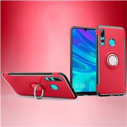 Armor Anti Drop Carbon PC + Silicon Invisible Ring Holder Phone Case for Huawei P Smart+ (2019) - Red