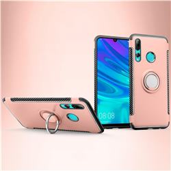 Armor Anti Drop Carbon PC + Silicon Invisible Ring Holder Phone Case for Huawei P Smart+ (2019) - Rose Gold