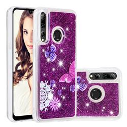 Purple Flower Butterfly Dynamic Liquid Glitter Quicksand Soft TPU Case for Huawei P Smart+ (2019)