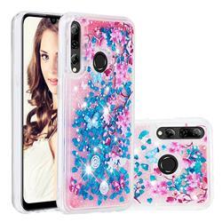 Blue Plum Blossom Dynamic Liquid Glitter Quicksand Soft TPU Case for Huawei P Smart+ (2019)