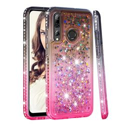 Diamond Frame Liquid Glitter Quicksand Sequins Phone Case for Huawei P Smart+ (2019) - Gray Pink