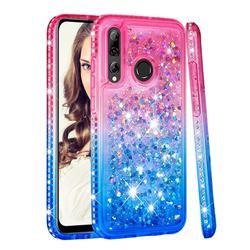 Diamond Frame Liquid Glitter Quicksand Sequins Phone Case for Huawei P Smart+ (2019) - Pink Blue