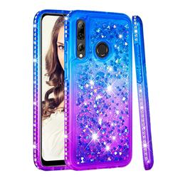 Diamond Frame Liquid Glitter Quicksand Sequins Phone Case for Huawei P Smart+ (2019) - Blue Purple
