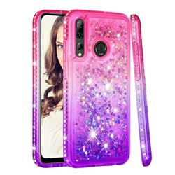 Diamond Frame Liquid Glitter Quicksand Sequins Phone Case for Huawei P Smart+ (2019) - Pink Purple