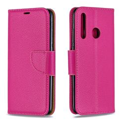 Classic Luxury Litchi Leather Phone Wallet Case for Huawei P Smart+ (2019) - Rose