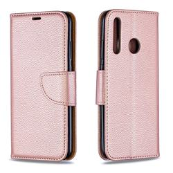 Classic Luxury Litchi Leather Phone Wallet Case for Huawei P Smart+ (2019) - Golden
