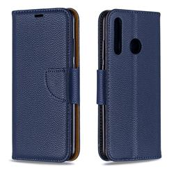 Classic Luxury Litchi Leather Phone Wallet Case for Huawei P Smart+ (2019) - Blue