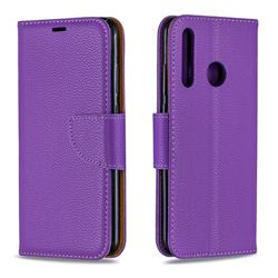 Classic Luxury Litchi Leather Phone Wallet Case for Huawei P Smart+ (2019) - Purple