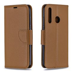 Classic Luxury Litchi Leather Phone Wallet Case for Huawei P Smart+ (2019) - Brown